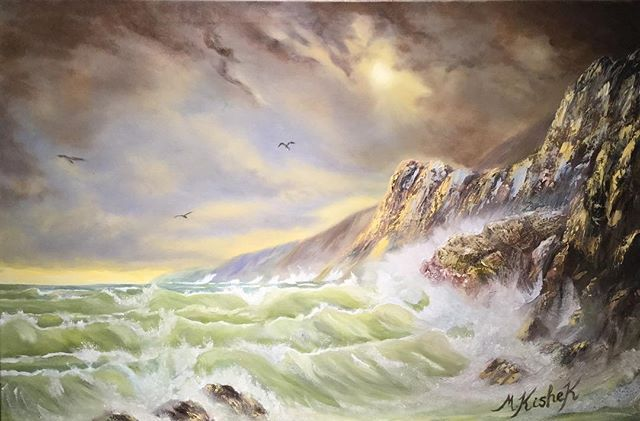 "(c) Stormy Sea by Marwan Kishek. 24""x36"" oil on canvas. #Sea #shore #seashore #coastline #coastalscene #Waves #wave #seascape #seagulls #cloud #oil #oils #art #arts #painting ""brush #paletteknife #paintings #oilcolours #cloud #colors #visualart #artists #skyscapes #sky #skies #crashingwave #rock #rocks #bluffs #cliff"