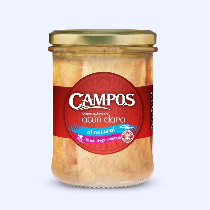 Atún Claro Campos al Natural, tarro de 200 gr., la mejor opción para deportistas por su alto contenido en proteínas de alto valor biológico y su bajo contenido en grasas.