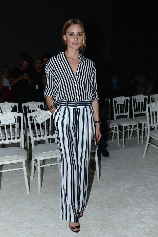 Olivia Palermo in a Tommy Hilfiger, striped top, Witchery striped pants, and black Schutz heeled sandals
