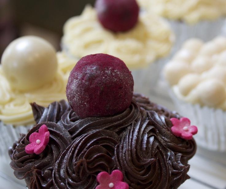 Dark chocolate ganache with raspberry chocolate truffle - mmmmmmm