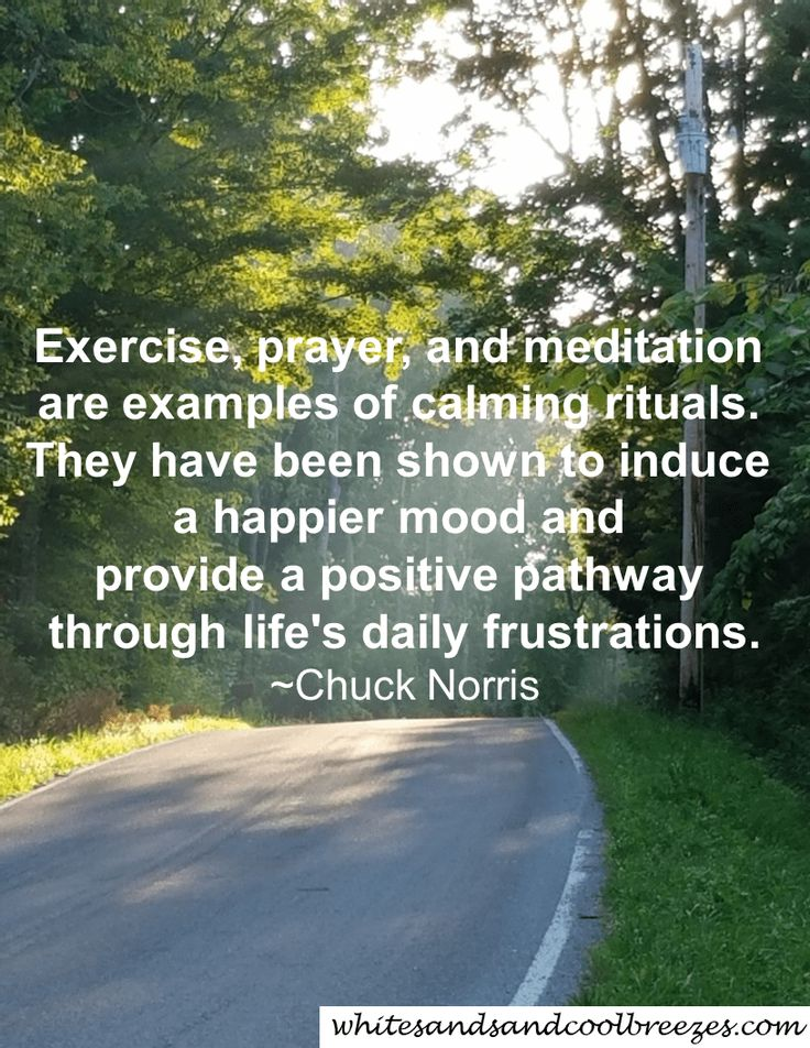 Exercise, prayer, and meditation are examples of calming rituals. They have been shown to induce a happier mood and provide a positive pathway through life's daily frustrations. - Chuck Norris (Martial Artist). Pray - Thought for the Every Day. Do you pray? Are you thankful for things in your life? Check out these great quotes that will get you thinking. Free Printables. #pray #inspiration #thoughtfortheday