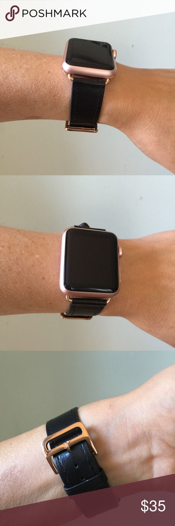 Black Apple Watch band with ROSE GOLD hardware! ⌚️ Black Apple Watch band with rose gold hardware. Single tour band, genuine leather.  It comes in 38mm and 42mm. Please select your size when you purchase. The adapters also fit the Apple Watch Sport. I also have other band colors, hardware colors and styles in my closet. Check them out! I offer 15% off if you buy two or more! only the band is for sale; it does not include the watch. Other