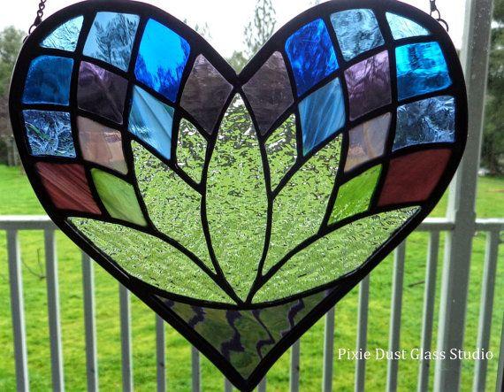 Stained Glass Lotus Flower Heart Suncatcher Heart Shaped