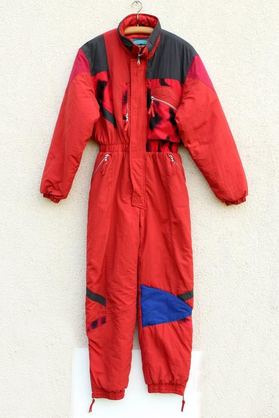 d12c191e08f74 Vintage One Piece Ski Suit 80s 90s Red One Piece Ski Suit Red Black ...