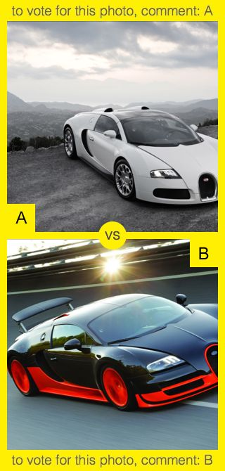 To vote for top photo comment A, to vote for bottom photo comment B. See results at http://swingvoteapp.com/#!polls/4897. Click here http://swingvoteapp.mobi/ to install Swingvote mobile app and create your own polls.