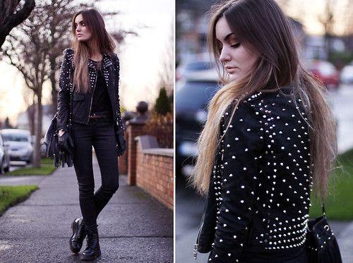 : Black Skinny, Style, Clothing, Black Combat Boots, Black Leather, Motorcycles Jackets, Studs Leather, Leather Jackets, Blog