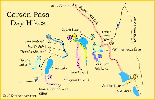 Map Of Day Hiking Trails On Carson Pass CA Hikes Near Kirkwood