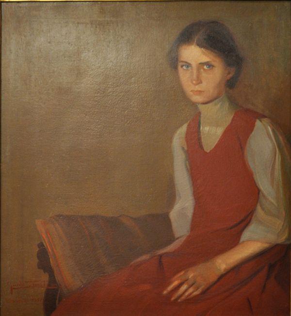 Guido Trentini, Ragazza in rosso. Ritratto di ragazza con grembiule rosso, 1911, olio su tela, cm 84,5 x 77,5, Galleria d'Arte Moderna Achille Forti