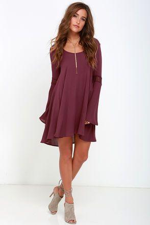 Beautiful Burgundy Shift Dress - Lace Dress - Long Sleeve Dress - $59.00