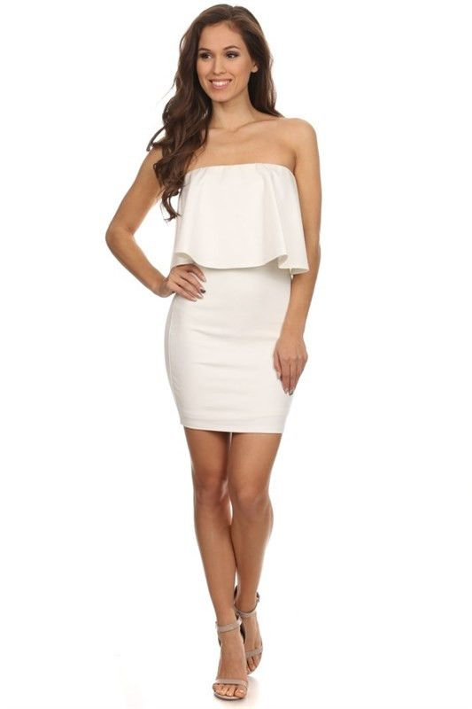 Moonlight Serenade Strapless Dress - Off White