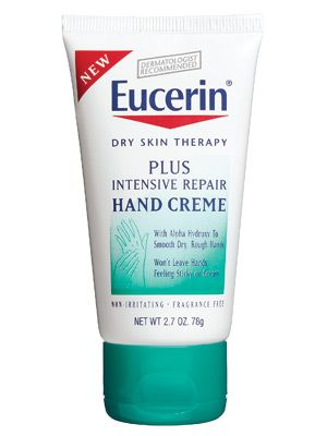 "Eucerin Plus Intensive Repair Hand Crème. This fragrance-free, extra-rich cream has generous helpings of urea (to hydrate) and lactic acid (to exfoliate), which is why doctors love it for treating dry hands. It ""smooths skin and ragged cuticles, and won't leave you with greasy palms,"" L.A. dermatologist Jessica Wu says. I use this the winter!"