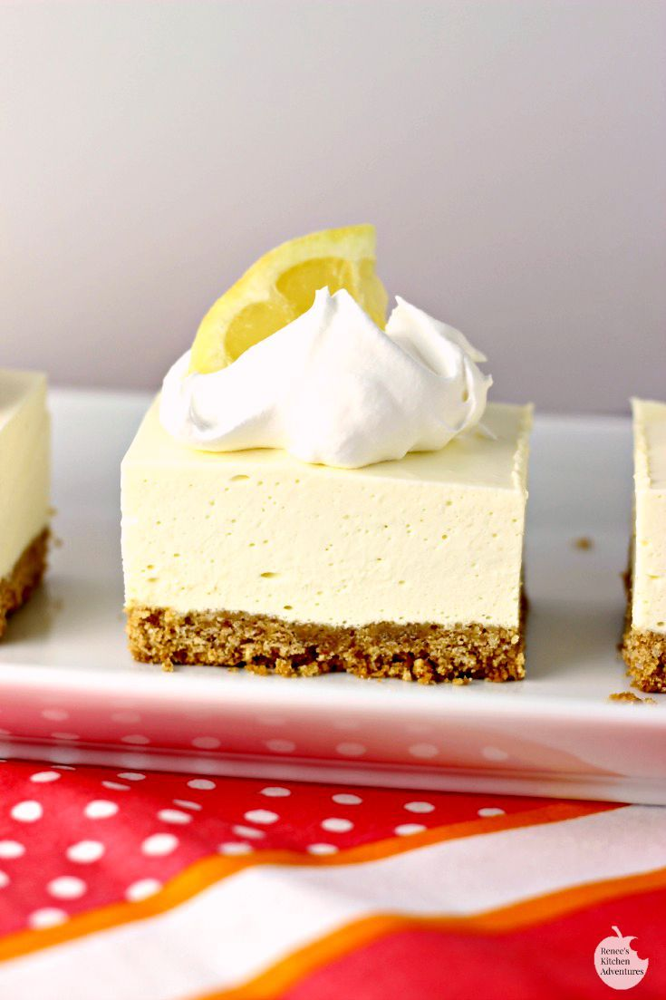 No Bake Lemon Cheesecake Squares | by Renee's Kitchen Adventures - NO BAKE easy dessert recipe that you NEED to make now!