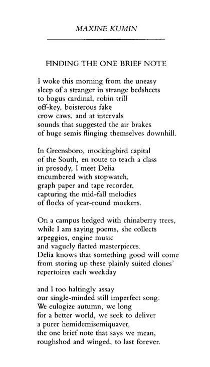 sound of night maxine kumin The classic text, perrine's literature: structure, sound, and sense, eighth edition,  maxine kumin, the sound of night philip larkin, aubade.
