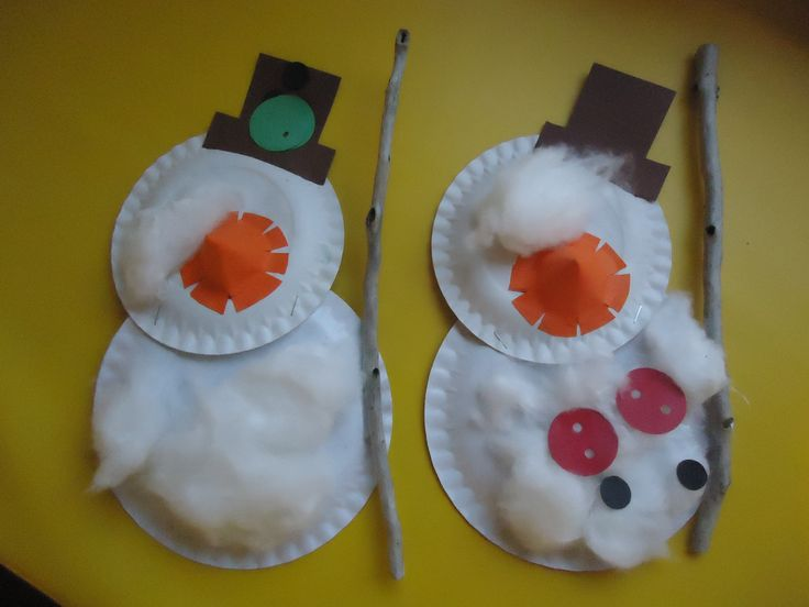 Sneeuwpop. Niet 2 maten kartonnen bordjes aan elkaar. Laat ze beplakken met watten. Maak van gekleurd papier oogjes, een neus ( vouw een kegeltje van een rond papiertje), een hoed en knopen. ga buiten takken zoeken; hier kun je evt. een bezem van maken.