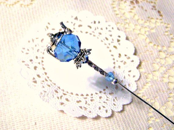 Victorian Tea Party Hats | Mad Tea Party Crystal Blue Victorian Hat Pin by GaffneyGirlStudio