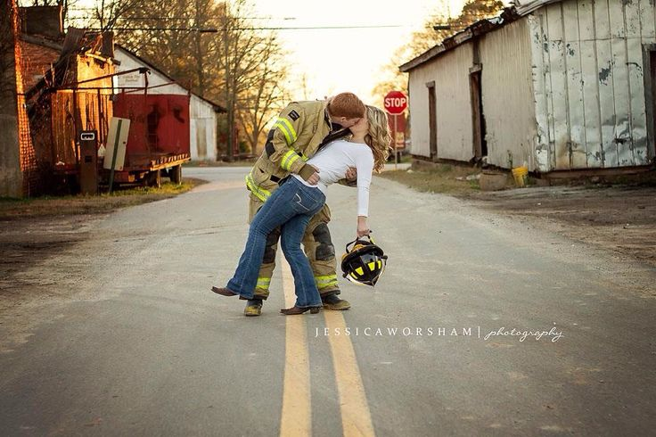 Firefighter engagement photography