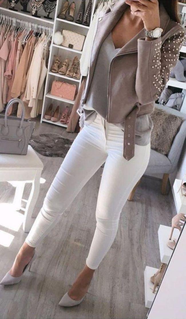Was solltest du zur weißen Jeans tragen, wenn du abends gehst? Was denkst du über Weiß? – Outfit