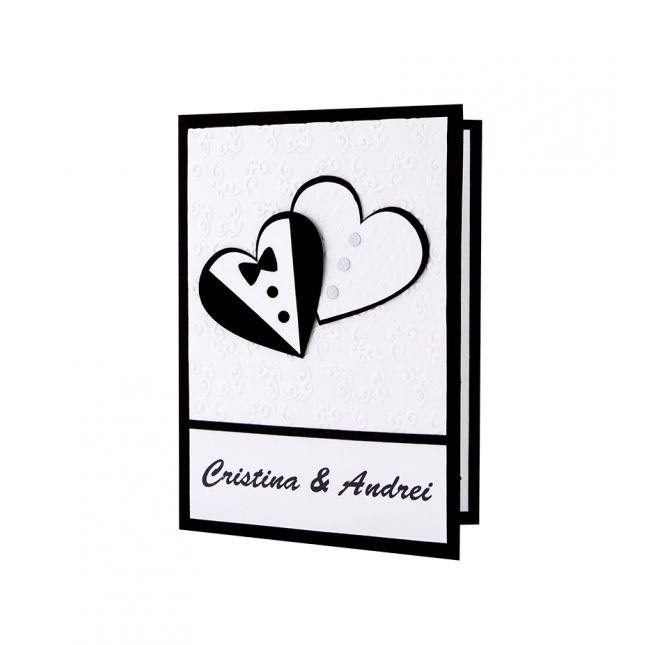 Invitatie nunta cu modele in forma de inimi realizate din carton alb si negru aplicate manual #nunta #wedding #weddinginvitation