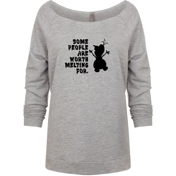 Disney Olaf Inspired Some People Are Worth Melting for Heather Gray... ($22) ❤ liked on Polyvore featuring tops, hoodies, sweatshirts, silver, women's clothing, check pattern shirt, raglan sleeve shirts, print shirts, checked shirt and heather grey shirt