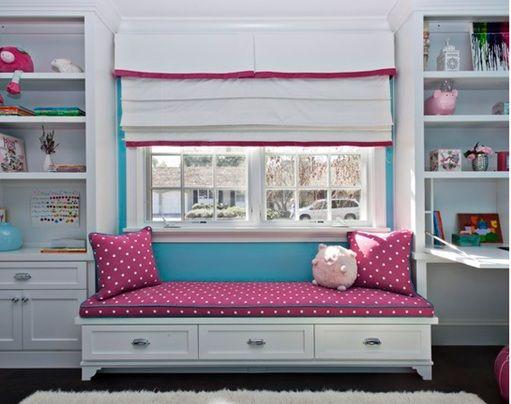 Decoración Dormitorios y Habitaciones: Dormitorios Decorados con Asientos Bajo la Ventana para Niñas