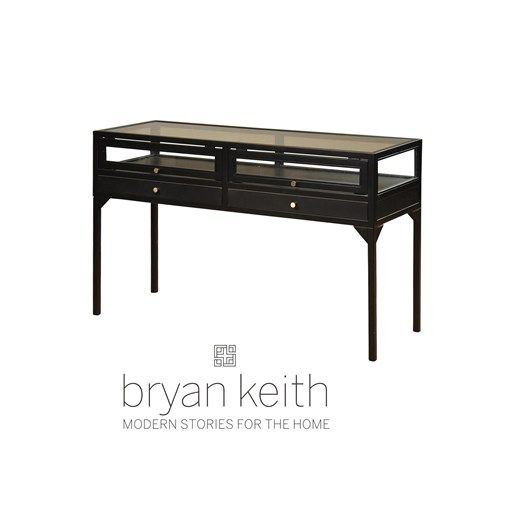 STYLE CRAFT   BKF2019 Collectors Display Table In Ebony Finish With Brass  Pulls And Glass Top