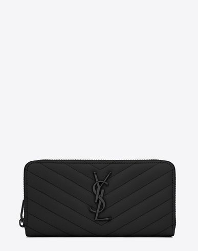 SAINT LAURENT MONOGRAM SAINT LAURENT ZIP AROUND WALLET IN BLACK ...
