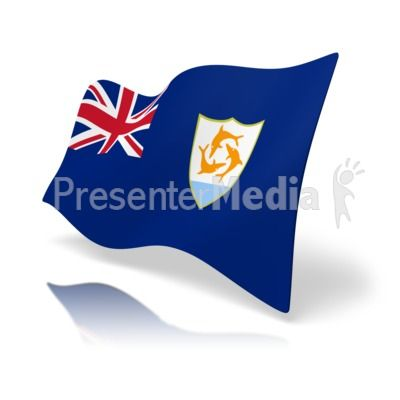 This clip art image shows the Anguilla flag at a perspective angle. #powerpoint #clipart #illustrations