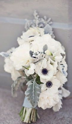 White anemones and dusty miller bouquet