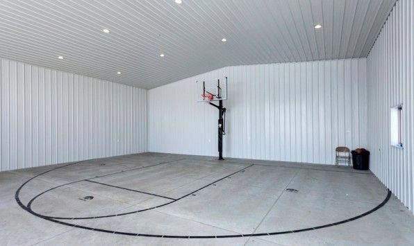 Basketball Court In Metal Building Basketball Court Indoorbasketball Home Basketball Court Indoor Basketball Court Basketball Game Tickets