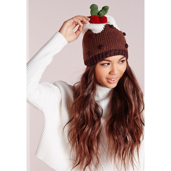 Missguided Christmas Pudding Hat ($17) ❤ liked on Polyvore featuring accessories, hats, multi, christmas hats, pointy hat and bobble hat