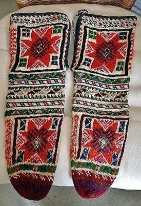 Traditional hand-knitted women's socks.  From Macedonia, 1900-1950.