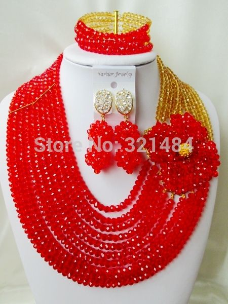 Find More Jewelry Sets Information about Charming! Red Flower Brooches Champagne Gold Crystal Nigerian Wedding African Beads Jewelry Set VC356,High Quality Jewelry Sets from P&W_Jewelry Accessories Co.,Ltd. on Aliexpress.com