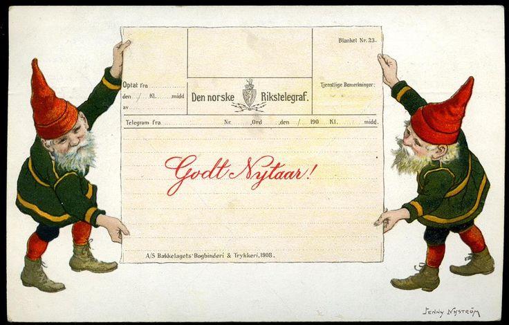 DEN NORSKE RIKSTELEGRAF. Nyttårskort med to nisser som holder opp et telegram. Tegnet av Jenny Nystrøm. Eneberettiget Mittet & co 1909. Br. 1909.
