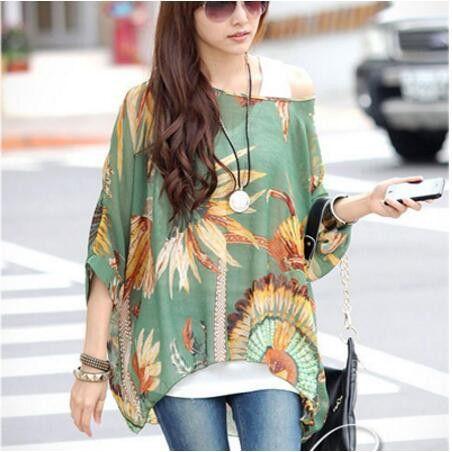 Summer Tops Women New Fashion 2017 Vintage Bohemian Clothing Batwing Sleeve Chiffon Blouse Shirt Plus Size 6XL For Big Women