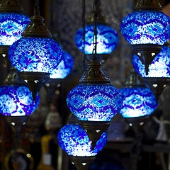 Blue lanterns.  These are sooooo much prettier than the ones I made outta mason jars!