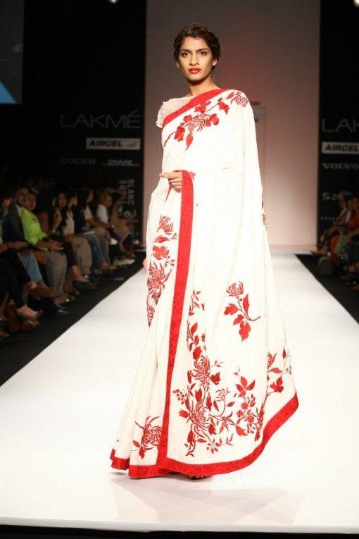 ashdeen lfw 2013 white red saree
