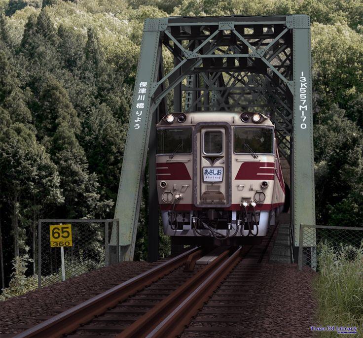 旧国鉄保津峡駅から京都寄りにある保津川橋梁通過の82系特急あさしお・・・のCG