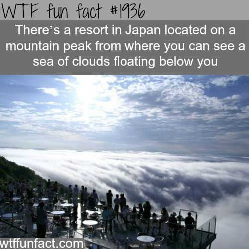 Resort in Japan where you can see clouds below you - WTF fun facts