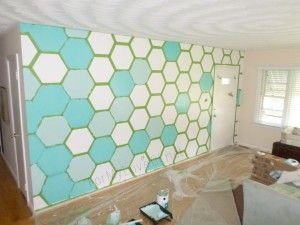 How to create your own Hexagon Feature Wall with DIY stencil (video  tutorial!)
