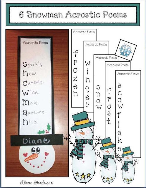 """Snowman Acrostic Poem Craftiity Packet This snowman acrostic poem """"craftivity"""" is a quick easy and fun way to incorporate the poetry genre into your studies. Acrostics are an interesting way for your kiddos to practice descriptive writing by using adjectives. To create an acrostic poem students think of a word that describes the topic that begins with that letter then write that word """"across"""" from the letter. My kiddos absolutely LOVE creating acrostics. It's a super-fun way to improve…"""