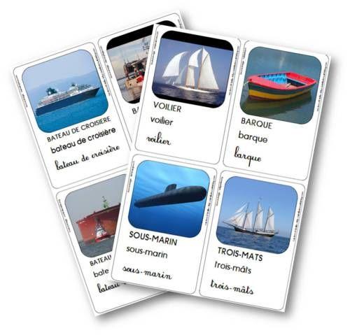les cartes de vocabulaire aux formats A6 et A5, avec l'écriture cursive ou sans (pour ceux qui comme moi préfèrent écrire à la main)     un jeu pour associer le navire (photo) et son nom (texte)     un jeu de mémory (8 photos doublées : 16 cartes)     deux fiches de loto pour compléter le loto de la mer (qui se trouve ici)