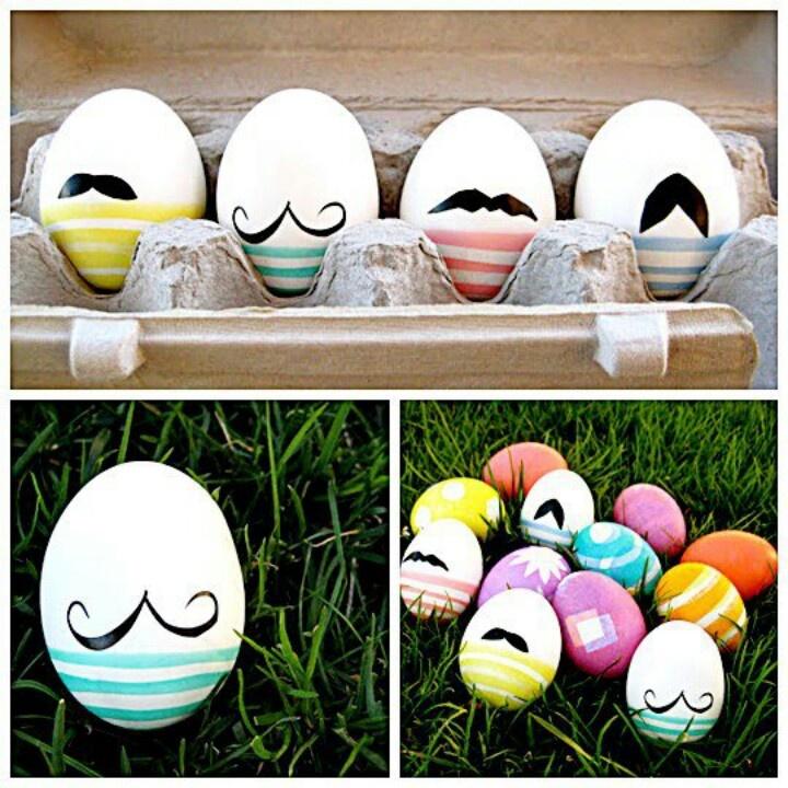 Eggs mostache paint