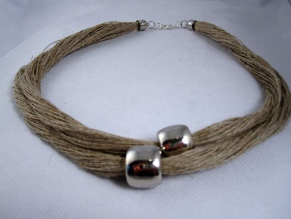 Necklace silver metal natural linen thread handmade by espurna88, €18.79