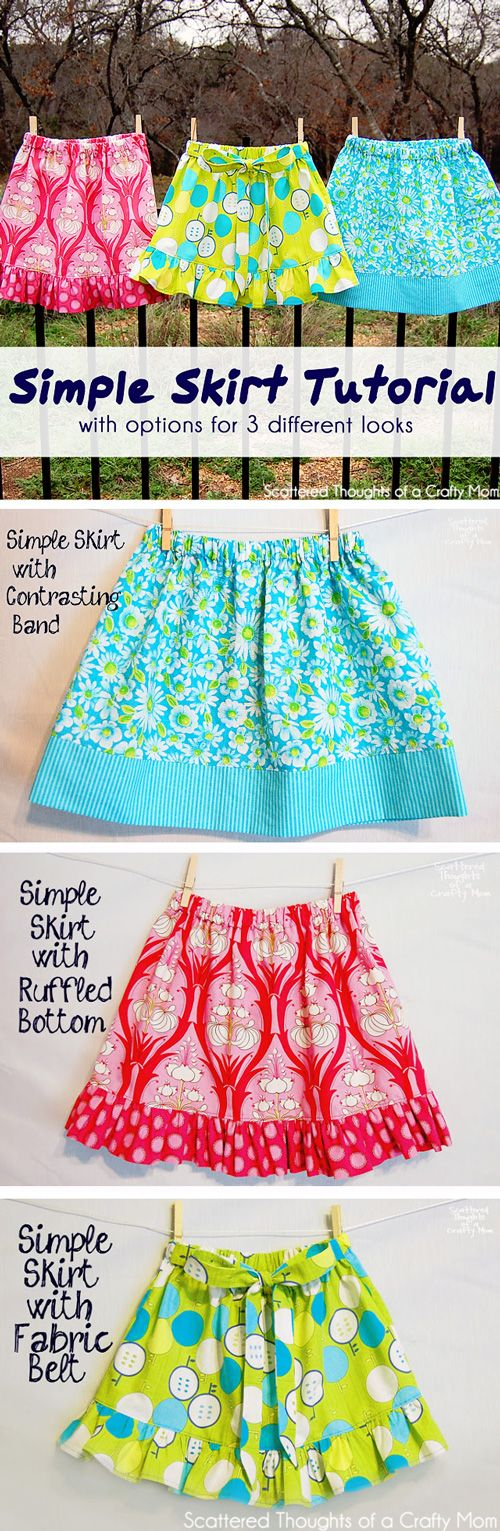 How to sew a simple skirt w/ 3 different options.