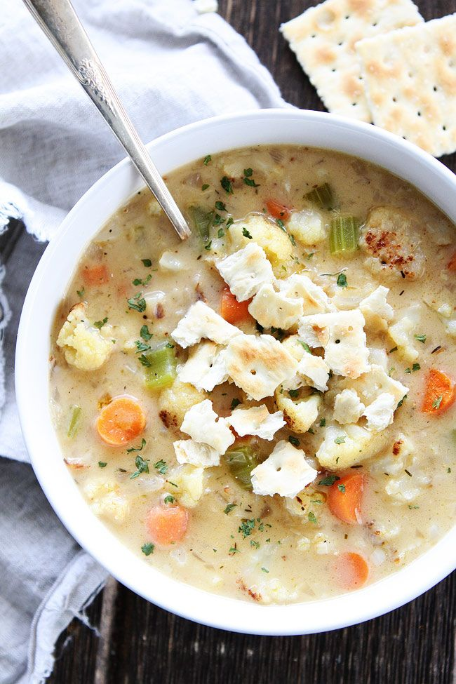 Creamy Roasted Cauliflower Chowder Recipe on twopeasandtheirpod.com This healthy and comforting chowder is perfect for a cold day!