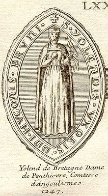 Yolande de Dreux, Countess of Penthièvre and of Porhoet was a Breton noblewoman and a suo jure Breton countess within the sovereign Duchy of Brittany. Yolande had been betrothed to King Henry III of England in 1226 at the age of seven years https://upload.wikimedia.org/wikipedia/commons/thumb/d/d6/Jolanda.jpg/220px-Jolanda.jpg
