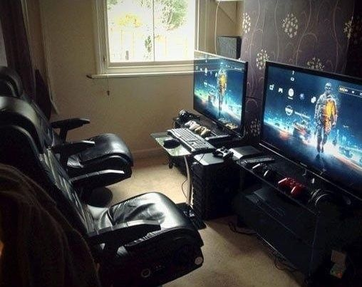 Picture of a dual gaming station. I see this and I want to create great multi-player games more than any other type of game. One that makes people want to work together to win. This is an autonomy type of motivation; I want to create this type of game because it is the kind I enjoy playing most.