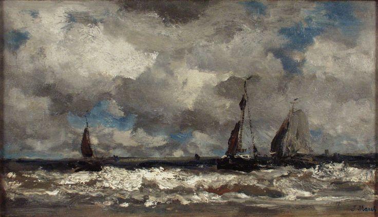 Jacob Maris - Vissersboten voor de kust