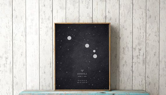 Aries Constellation Print Birth Coordinates by wildowlsolstice