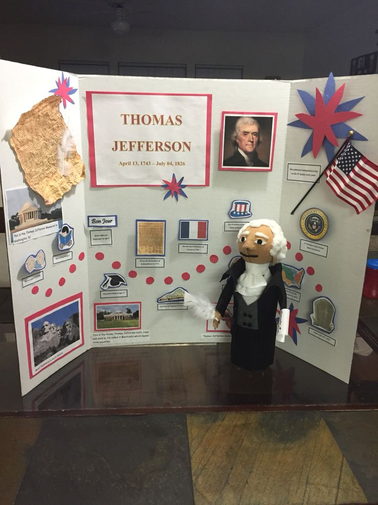 Thomas Jefferson Project...Display board with timeline and bottle doll!